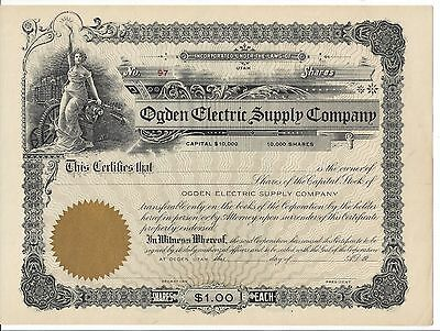Ogden Electric Supply Company.....unissued Stock Certificate