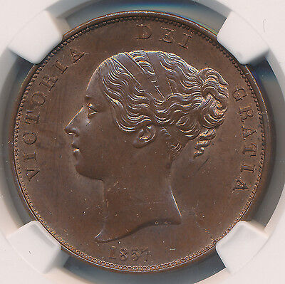 MAKE AN OFFER! -- Great Britain Penny 1857 Plain Trident - NGC UNC Details