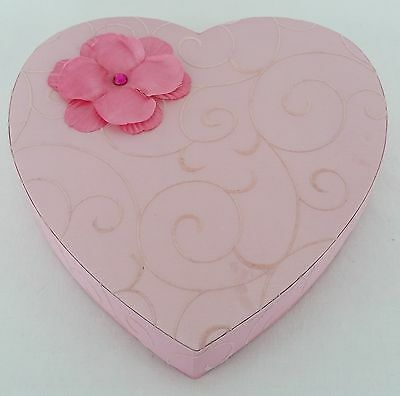 Vintage See's Candy Valentine Heart Shaped Candy Box Pink Flower & Scroll Design