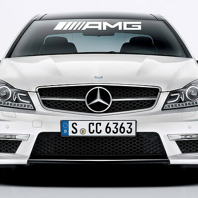 New - 1 AMG Mercedes Benz White Windshield Wheels Decal Sticker Emblem C63 E63