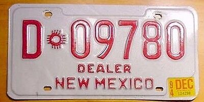 New Mexico 1994 Red on White Dealer License Plate