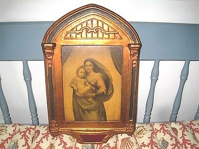 Extra-Large Antique Wood Italian Tole Red Blue Gold Florentine Madonna Picture