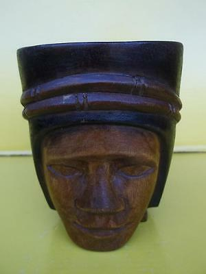 179 / Vintge Hand Carved Wooden Tribal Cup In The Form Of A Head.