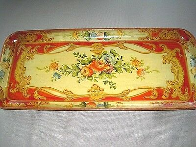 Long Narrow Hand Painted Paper Mache Red Yellow Tole Roses Dresser Jewelry Tray