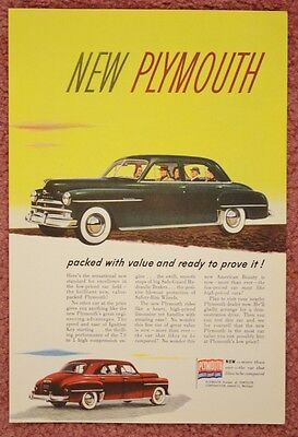1948 Original Color Automobile Car centerfold Ad Plymouth Green Red