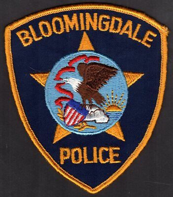 Bloomingdale Illinois Police Patch  Vintage - Cheese Cloth   All Gold Border VER