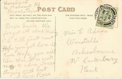 1907 card Broadstairs with d/r Broadstairs.Station/Kent 30 Aug