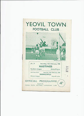 Yeovil Town v Hastings 13 February 1960 Southern League