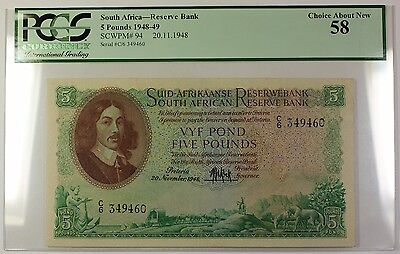 1948-49 20.11.1948 South Africa 5 Pound Note SCWPM# 94 PCGS Choice About New 58
