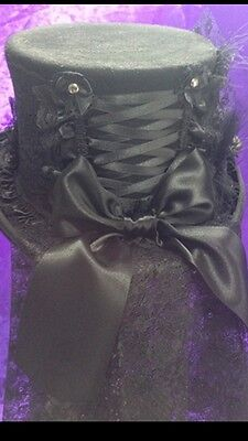NEW Black Wool Top Hat Morticia Whitby, Roses, Halloween, Steampunk