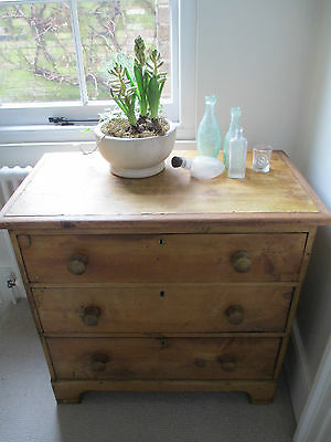 Antique Victorian Pine Chest of Drawers Vintage with Key holes Shabby Chic