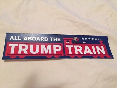 ALL ABOARD THE TRUMP TRAIN BUMPER STICKERS PRESIDENT 2017 Anti Hillary