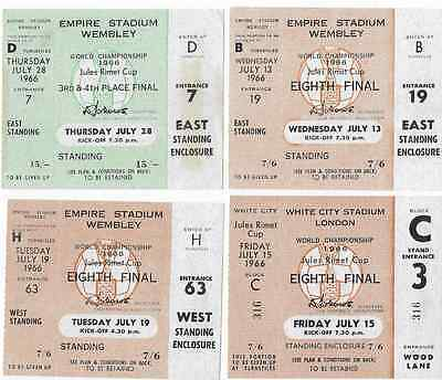 4 x different unused 1966 WORLD CUP TICKETS: France Uruguay Mexico Portugal USSR