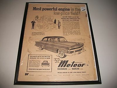 1952 Meteor Customline Canadian Only Original Vintage Print Ad Art Collectible
