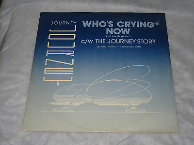 """Journey - Who's Crying Now c/w The Journey Story (CBS Records Vinyl 12"""" EP-1981)"""