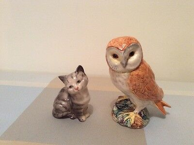 Beswick owl and cat