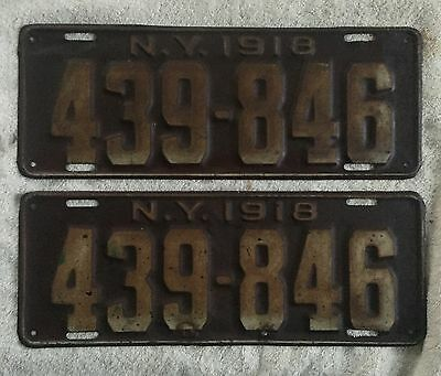 Good Solid Original Pair Of 1918 New York License Plates. Free Shipping.