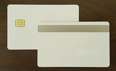 100 PVC Cards White SLE4442 Chip+8mm Silver Magnetic Stripe 2 Track HiCo 30mil