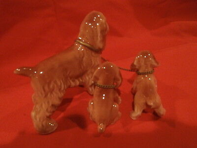 Vintage Hand Painted Cocker Spaniel Dog Figurine & pups  nice detail