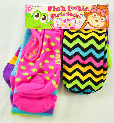 Young Girls Pink Cookie Varity Pac Socks 6 Pair Size 6-7 Super Cute Retail $12