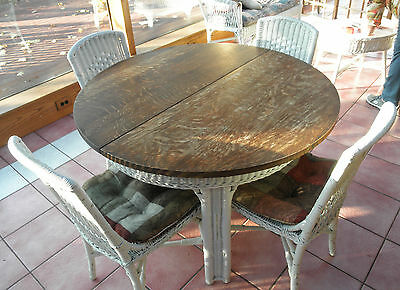 """Vintage Oak Top 42"""" Round Wicker Extension Table with 3 Leaves & 6 Wicker Chairs"""