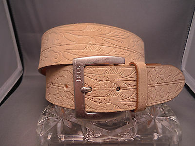 "RALPH LAUREN TOOLED GENUINE LEATHER BELT 1 5/8"" wide- 32""-36"" WAIST"