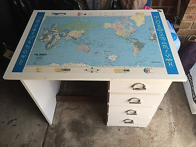 4 Drawer White Desk with World Map