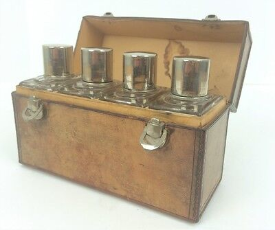 """""""Gentleman's (4) Glass Travel Tantalus in Leather Case"""""""