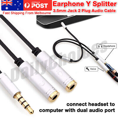 3.5mm Stereo Audio Headphone Male To 2 Female Y Splitter Adapter Cable Jack Plug