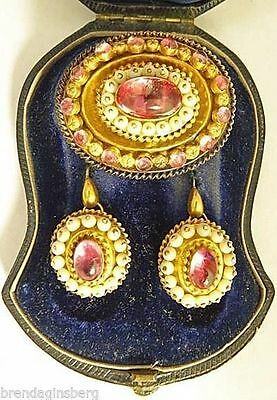 Antique Mid Victorian Earrings Brooch Set in Fitted box Gold Topaz Coral (#5132)
