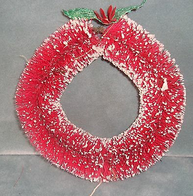 "Old Red Bottle Brush Wreath 7"" diameter foil leaves paper flower"