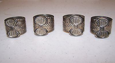 Napkin Holders - Silver Colored - Set of 4