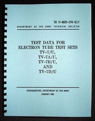 TV-7 TV-7A/B/D Tube Tester Test Data Book