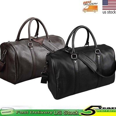 Men Genuine Leather Overnight Tote Travel Duffle Weekend Holdall Sports Gym Bag