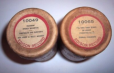 2 Nice Edison Phonograph 2 Minute Cylinder Records Ob/lids #10049 + #10065