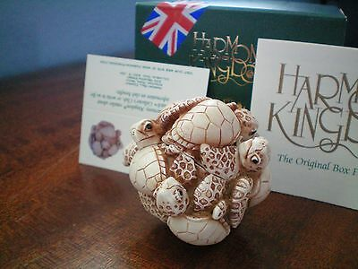 Harmony Kingdom Lethargy Lounge UK Made Turtle pile Marble Resin BoxFigurine NIB