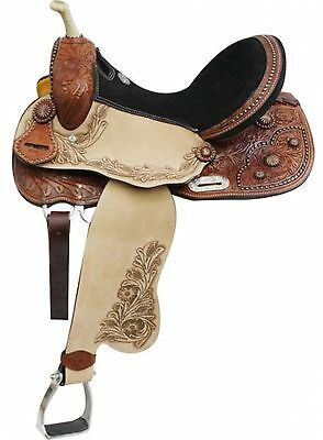 "14"" Double T Barrel Style Saddle With Copper Colored Starburst Conchos!"