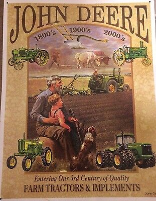 Collectible John Deere Tin Sign '3 Centuries of Tractors' JD Licensed Product