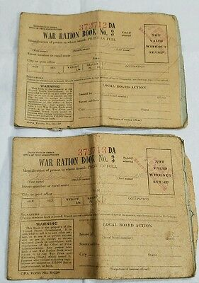 Lot of 2  WWII War Ration Book No 3 With Pages of Stamps Each Sequential