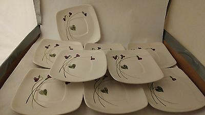 """California Pottery Orchard Ware Violets Set of Nine 5 1/2"""" Saucers"""