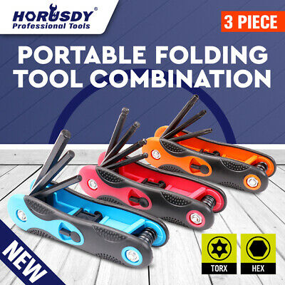 3 pc Folding Hex Keys Allen Wrench 24 Key SAE METRIC Torx Star Fold Set Tool Kit