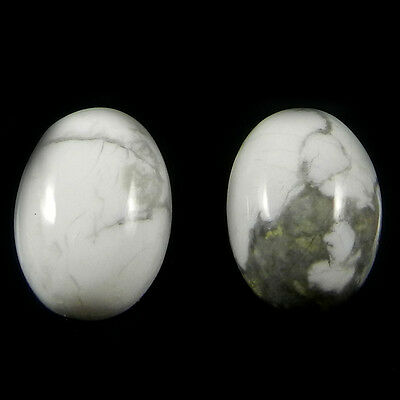 Amazing 1 Pair Natural Howlite Gemstone 10x14mm Oval Cab 14 cts Stones ER4168