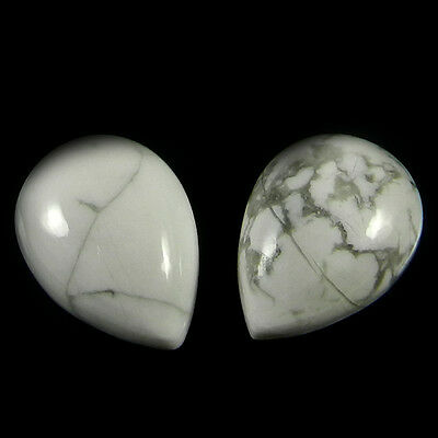1 Pair Natural Howlite Gemstone 12x16mm Pear Cab 21 cts Stones ER4170