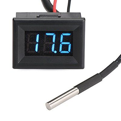 DROK Micro LED Digital Thermometer -55 to 125  Temperature Meter Gauge Panel DC