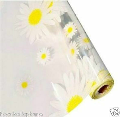 1 - 100 mtr YELLOW DAISIES Clear Cellophane Roll Hamper EASTER Gift Wrap Film