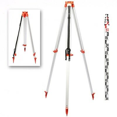 1.65M Aluminum Tripod 5M Staff Kit For Laser Level Automatic Building 5 Sections