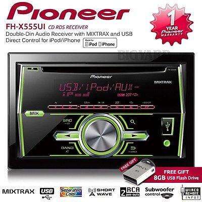 PIONEER FH-X555UI MIXTRAX MOSFET 50WX4 USB Double Din Car Stereo Headunit Player