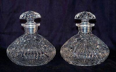 Stunning Pair Vintage Cut Glass Dressing Table Scent Bottles with Stoppers