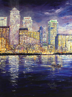 """KAREN WALLIS """"City by Night"""" SIGNED OUT-OF-PRINT LE! SIZE:55cm x 41cm NEW RARE"""