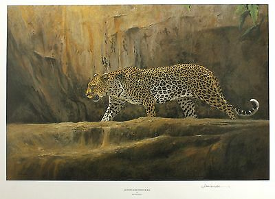 "KIM DONALDSON ""Leopard at Bushman Rock"" big cat LE SGD! SIZE:46cm x 64cm NEW"
